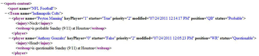 XML Injury Report Example Code
