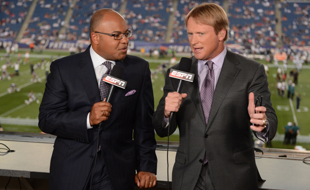Foxborough, MA - August 20, 2012 - Gillette Stadium: ESPN MNF Hosts Mike Tirico and Jon Gruden during a preseason game(Photo by Allen Kee / ESPN Images)