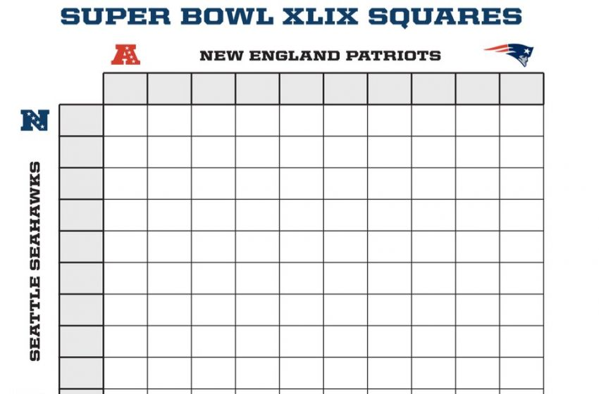 Super Bowl Squares 2016 Template 100 Square Football Pool
