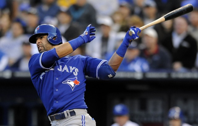 Toronto Blue Jays' Bautista hits a two-run home run against the Kansas City Royals in the sixth inning of their MLB American League baseball game in Kansas City, Missouri