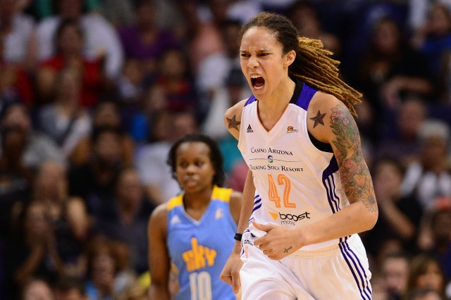 PHOENIX, AZ - SEPTEMBER 07:  Center Brittney Griner #42 of the Phoenix Mercury reacts on the court against the Chicago Sky during game one of the WNBA Finals at US Airways Center on September 7, 2014 in Phoenix, Arizona. NOTE TO USER: User expressly acknowledges and agrees that, by downloading and or using this photograph, User is consenting to the terms and conditions of the Getty Images License Agreement.  (Photo by Jennifer Stewart/Getty Images)
