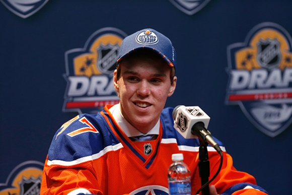 SUNRISE, FL - JUNE 26:  Connor McDavid is interviewed after being selected first overall by the Edmonton Oilers during Round One of the 2015 NHL Draft at BB&T Center on June 26, 2015 in Sunrise, Florida.  (Photo by Eliot J. Schechter/NHLI via Getty Images)