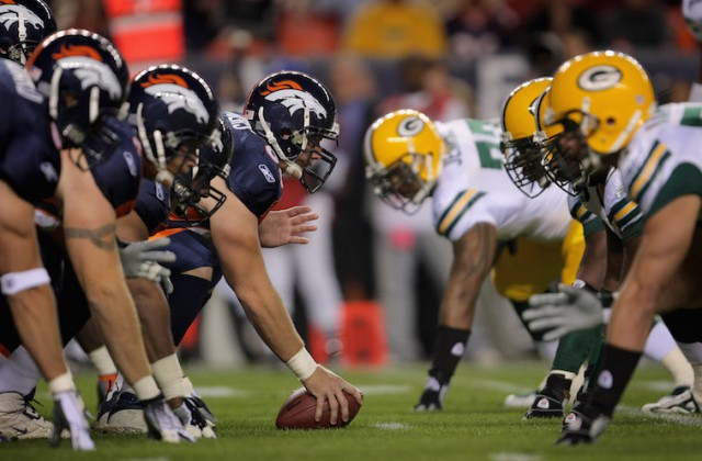 of the Green Bay Packers of the Denver Broncos at Invesco Field at Mile High on October 29, 2007 in Denver, Colorado.