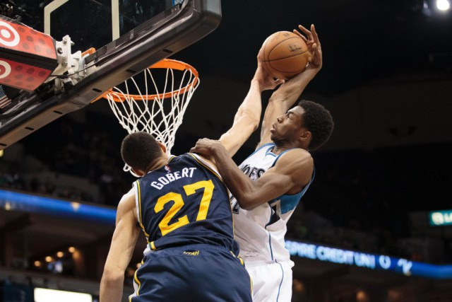 Mar 30, 2015; Minneapolis, MN, USA; Utah Jazz center Rudy Gobert (27) blocks Minnesota Timberwolves guard Andrew Wiggins (22) in the second quarter at Target Center. Mandatory Credit: Brad Rempel-USA TODAY Sports ORG XMIT: USATSI-188444 ORIG FILE ID:  20150330_mta_ai9_073.JPG
