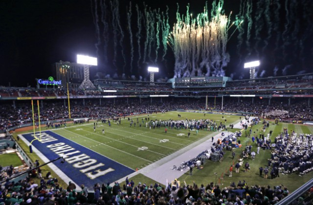 Fireworks light up the sky at the conclusion of the Shamrock Series NCAA college football game at Fenway Park, home of the Boston Red Sox, in Boston Saturday, Nov. 21, 2015. Notre Dam defeated Boston College 19-16. (AP Photo/Charles Krupa)