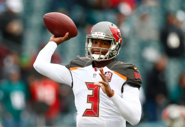 PHILADELPHIA, PA - NOVEMBER 22:  Quarterback Jameis Winston #3 of the Tampa Bay Buccaneers throws a pass during warm-ups before the game against the Philadelphia Eagles at Lincoln Financial Field on November 22, 2015 in Philadelphia, Pennsylvania.  (Photo by Rich Schultz/Getty Images)