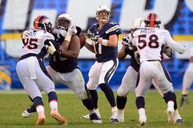 Dec 14, 2014; San Diego, CA, USA; San Diego Chargers quarterback Philip Rivers (17) looks to pass during the fourth quarter against the Denver Broncos at Qualcomm Stadium. Mandatory Credit: Jake Roth-USA TODAY Sports
