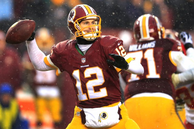 LANDOVER, MD - DECEMBER 08: Quarterback Kirk Cousins #12 of the Washington Redskins throws a pass against the Kansas City Chiefs during the second half of the Chiefs 45-10 win at FedExField on December 8, 2013 in Landover, Maryland.  (Photo by Rob Carr/Getty Images)