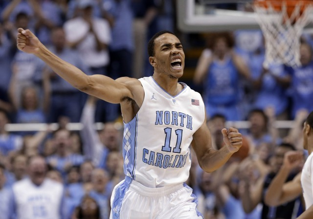 North Carolina's Brice Johnson (11) reacts following a basket near end of an NCAA college basketball game against Duke in Chapel Hill, N.C., Thursday, Feb. 20, 2014. North Carolina won 74-66. (AP Photo/Gerry Broome)