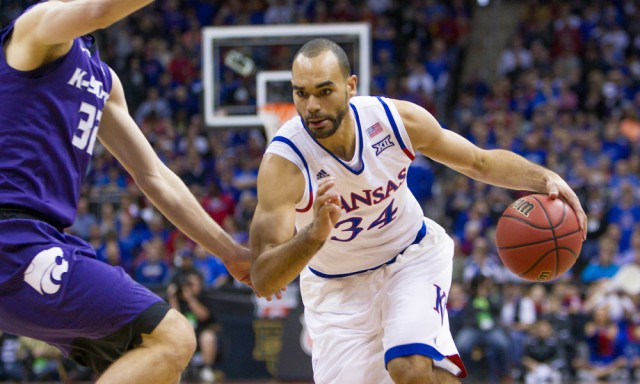 March 10, 2016: Kansas Jayhawks forward Perry Ellis (34) during the NCAA Big 12 conference mens basketball tournament game between the Kansas State Wildcats and the Kansas Jayhawks at the Sprint Center in Kansas City, Missouri. Kansas defeated Kansas State 85-63 (Photo by William Purnell/Icon Sportswire)