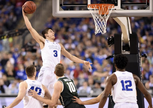 Apr 4, 2015; Indianapolis, IN, USA; Duke Blue Devils guard Grayson Allen (3) dunks against the Michigan State Spartans in the second half of the 2015 NCAA Men's Division I Championship semi-final game at Lucas Oil Stadium. Mandatory Credit: Bob Donnan-USA TODAY Sports