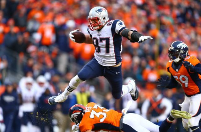 Jan 24, 2016; Denver, CO, USA; New England Patriots tight end Rob Gronkowski (87) against the Denver Broncos in the AFC Championship football game at Sports Authority Field at Mile High. Mandatory Credit: Mark J. Rebilas-USA TODAY Sports