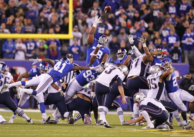 New England Patriots' Stephen Gostkowski (3) kicks the game winning field goal during the second half of an NFL football game against the New York Giants, Sunday, Nov. 15, 2015, in East Rutherford, N.J. The Patriots won 27-26. (AP Photo/Gary Hershorn)