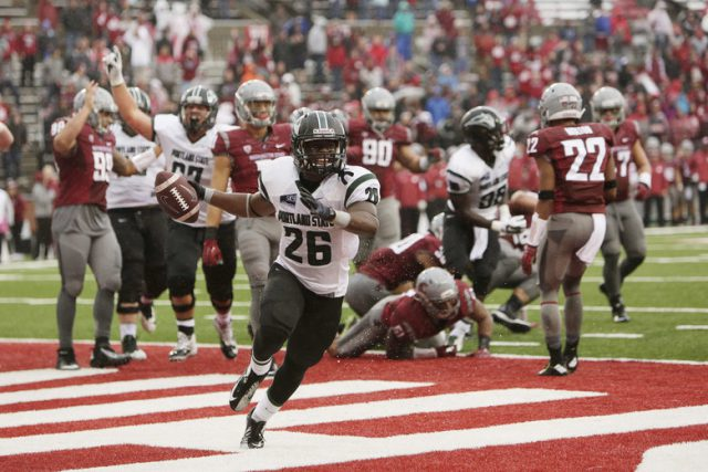 Portland State running back Steven Long (26) celebrates his touchdown against Washington State during the second half of an NCAA college football game, Saturday, Sept. 5, 2015, in Pullman, Wash. Portland State won 24-17. (AP Photo/Young Kwak) WAYK110  (Young Kwak / The Associated Press)