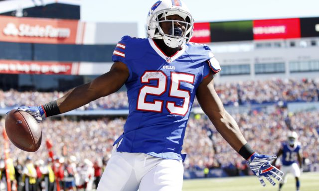 Sep 25, 2016; Orchard Park, NY, USA; Buffalo Bills running back LeSean McCoy (25) reacts after a touchdown during the first half against the Arizona Cardinals at New Era Field. Mandatory Credit: Kevin Hoffman-USA TODAY Sports