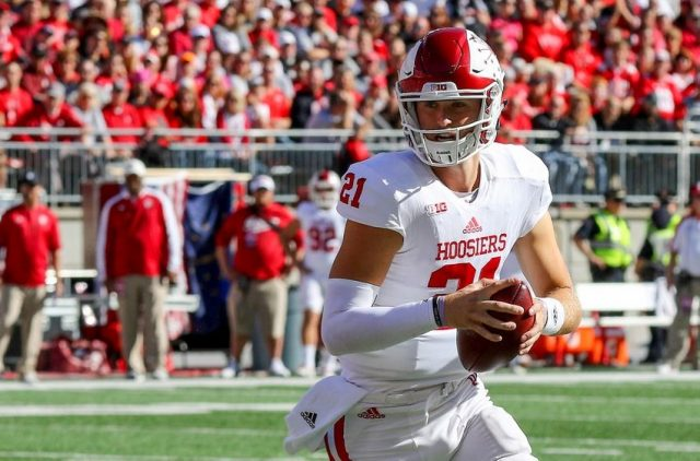 Oct 8, 2016; Columbus, OH, USA; Indiana Hoosiers quarterback Richard Lagow (21) drops back to throw early in the first quarter against the Ohio State Buckeyes at Ohio Stadium. Mandatory Credit: Joe Maiorana-USA TODAY Sports