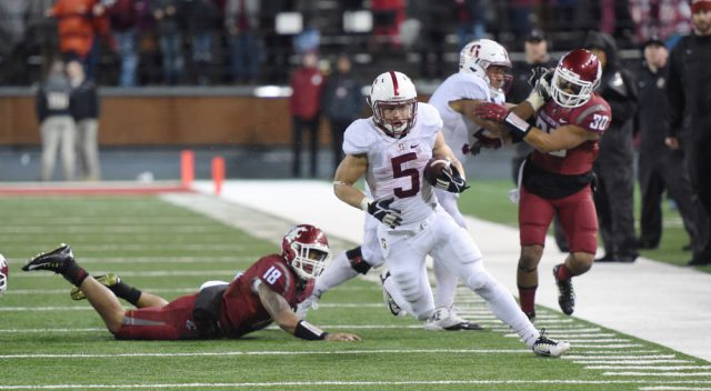 October 31, 2015: Stanford sophomore running back Christian McCaffrey (5) takes off on a nice run during the PAC-12 game between the Stanford University Cardinal and the Washington State University Cougars played at Martin Stadium, in Pullman Washington on the campus of Washington State.  Stanford won 30-28 to improve to 7-1 overall and 6-0 in the PAC-12 North. WSU fell to 5-3 overall, and 3-2 in PAC-12 conference play. (Photograph by Robert Johnson/Icon Sportswire)