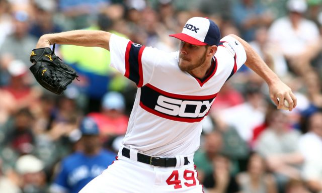 Jun 26, 2016; Chicago, IL, USA; Chicago White Sox starting pitcher Chris Sale (49) delivers a pitch during the third inning against the Toronto Blue Jays at U.S. Cellular Field. Mandatory Credit: Caylor Arnold-USA TODAY Sports ORG XMIT: USATSI-260502 ORIG FILE ID:  20160626_cja_ca2_007.JPG