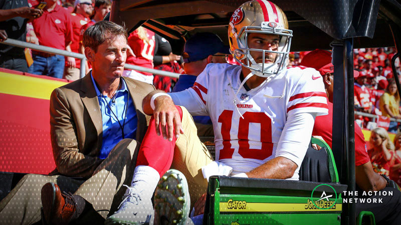 The San Francisco 49ers have moved from 4.5-point to 10.5-point underdogs against the Los Angeles Chargers following quarterback Jimmy Garoppolo's season-ending ACL injury.