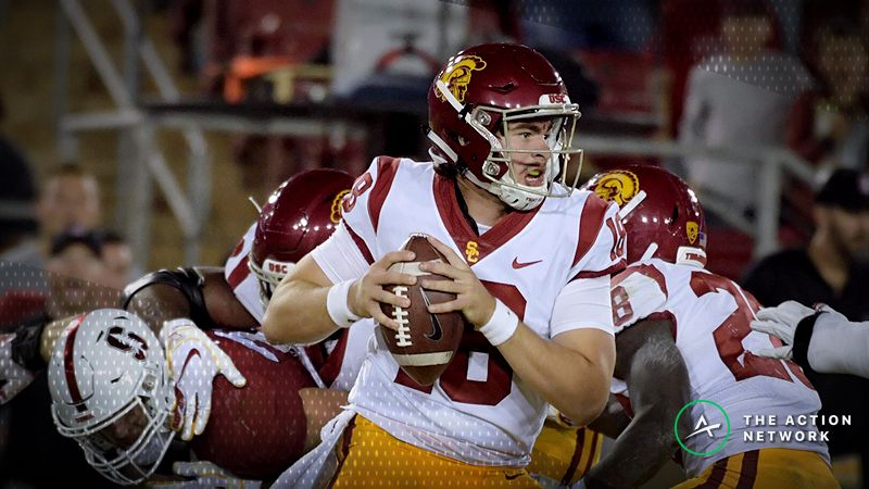 Southern California Trojans quarterback JT Daniels (18) throws a pass against Stanford Cardinal in the second half at Stanford Stadium.