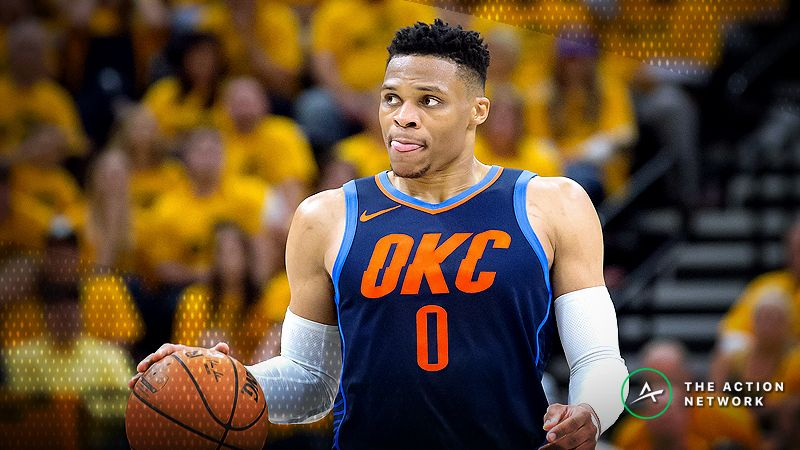 Oklahoma City Thunder guard Russell Westbrook (0) dribbles the ball during the first half of game six of the first round of the 2018 NBA Playoffs against the Utah Jazz at Vivint Smart Home Arena.