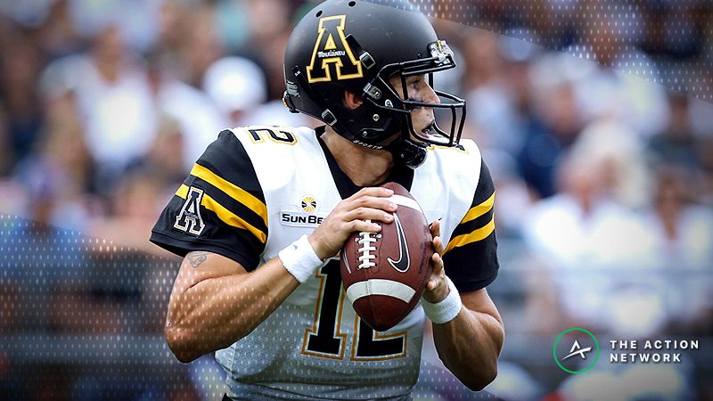 Appalachian State Mountaineers quarterback Zac Thomas (12) looks to throw a pass during the first quarter against the Penn State Nittany Lions at Beaver Stadium. Penn State defeated Appalachian State 45-38 in overtime.