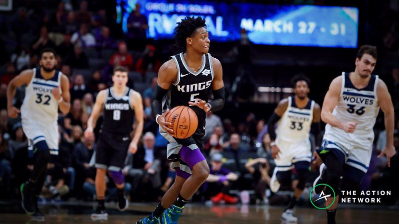 Sacramento Kings guard De'Aaron Fox (5) looks to pass the ball against against the Minnesota Timberwolves during the fourth quarter at Golden 1 Center.